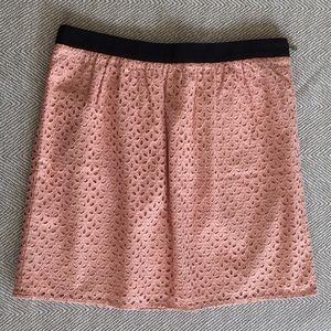 Ann Taylor LOFT peachy pink floral eyelet skirt